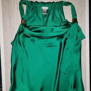CACHE Satin Green Teal Sleeveless Tank Top Large